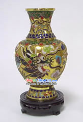 Dragon Playing Ball Cloisonne Vase