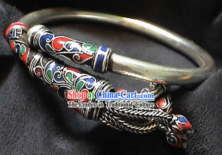 Chinese Palace Silver Cloisonne Bracelet