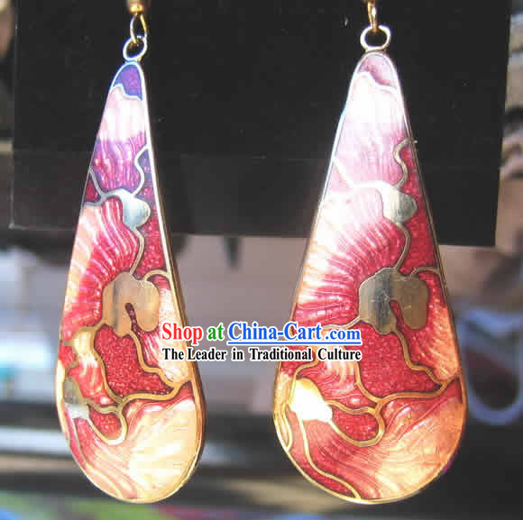 Chinese Palace Pink Cloisonne Earrings