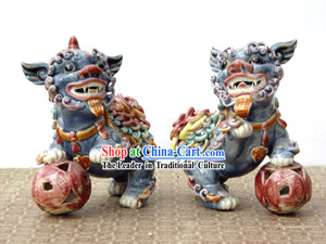 Hand Made Shi Wan Artistic Ceramics Statue-Dancing Lion Pair