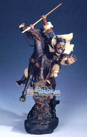Chinese Hand Made Shi Wan Ceramics-Ancient Brave General-Zhang Fei