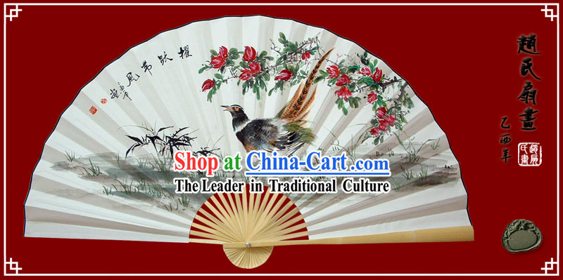Chinese Hand Painted Large Decoration Fan by Zhao Qiaofa-Brave Sparrow Spirit