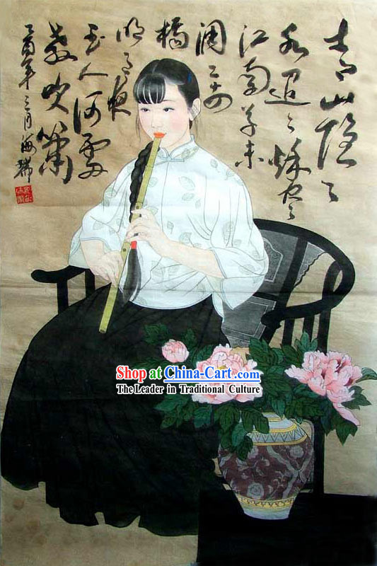 Chinese Traditional Painting-Beauty Playing Flute