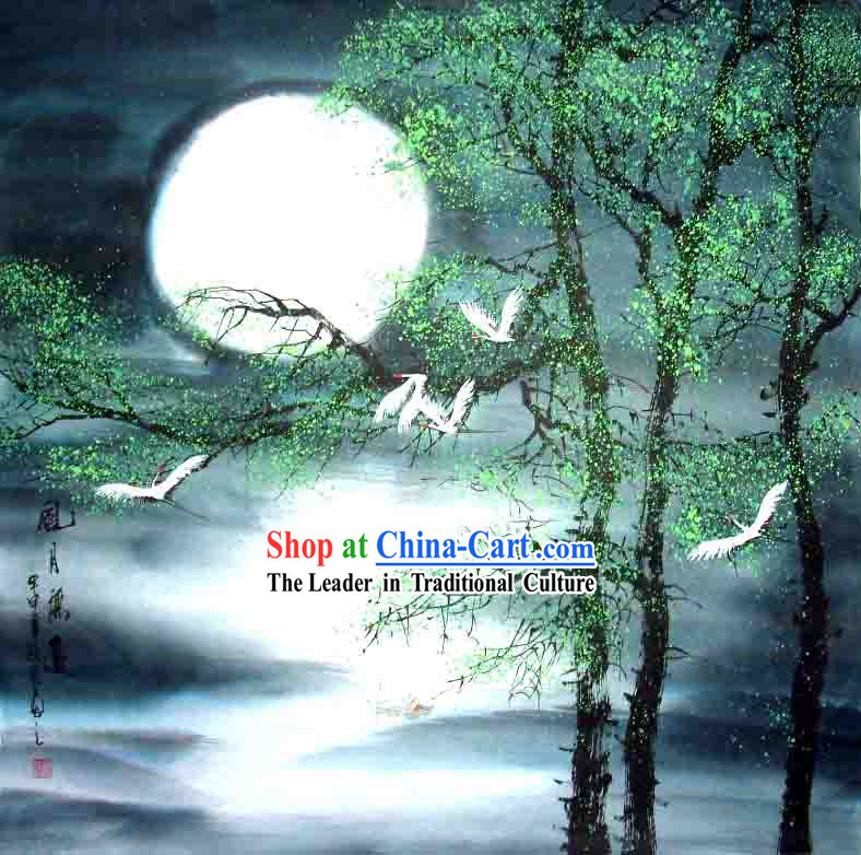 Chinese Wash Painting-Cranes under The Moon