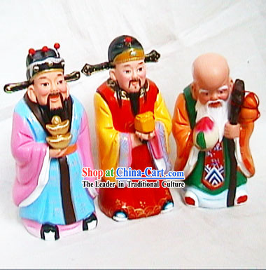 Beijing Hand Made Clay Figurine-Luck,Health and Richness Fairies_three Pieces Set_