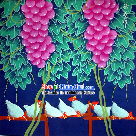 Shan Xi Folk Farmer Painting-Under The Grape Stand