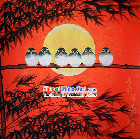 Shan Xi Folk Farmer Painting-Sparrow Meeting