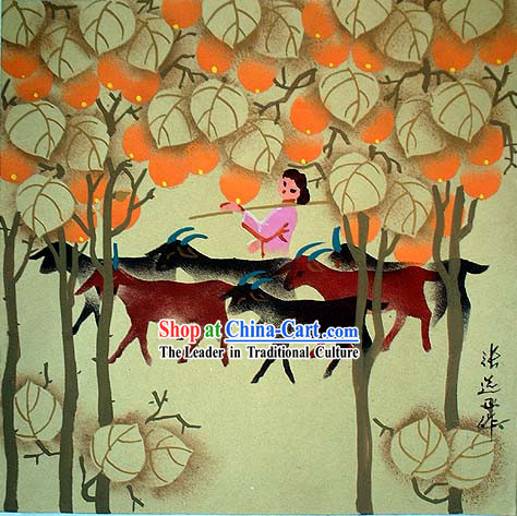 Shan Xi Folk Farmer Painting-Shepherdess