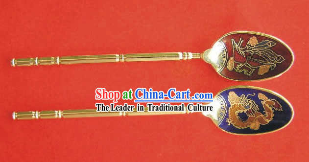 Chinese Cloisonne Coffee Spoon for Lovers_two pieces_