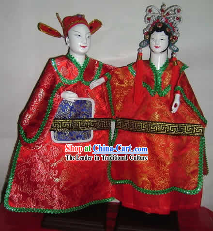 Chinese Classic Handmade Hand Puppet Couple-Bridegroom and Bride