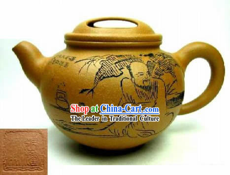 Chinese Hand Made Zisha Teapot-Wise Confucius