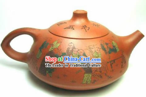 Chinese Hand Painted Zisha Teapot-Ancient Wise People