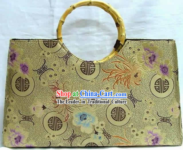 Chinese Big Palace Flower Silk Briefcase