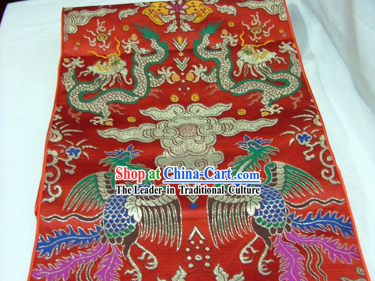 Traditional Dragon and Phoenix Table Runner _ Phoenix Scroll