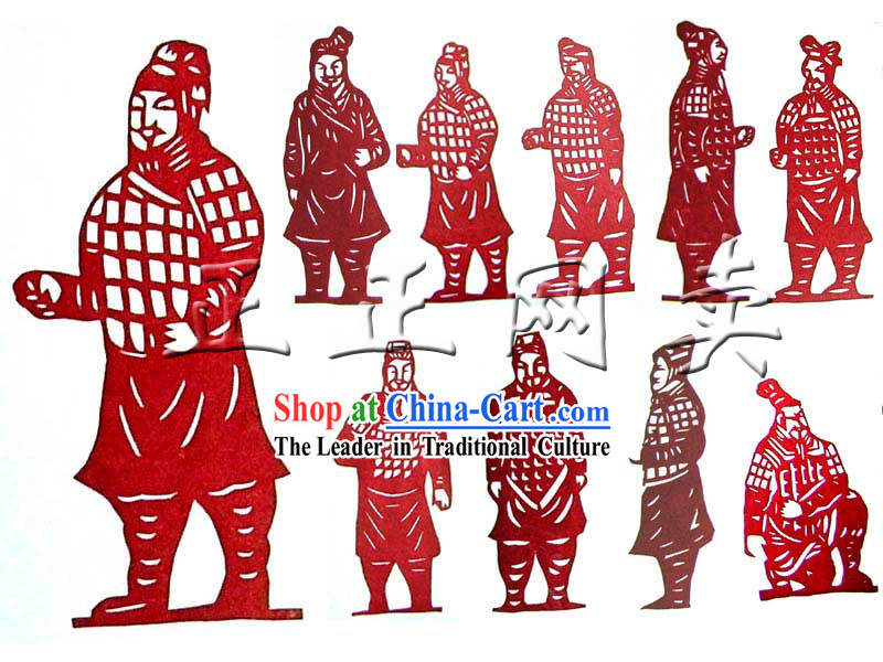 Chinese Traditional Terra Cotta Warrior Papercut 10 Pieces Set