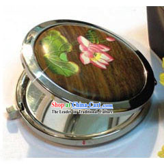Mongolia Summer Lotus Wood Makeup Mirror