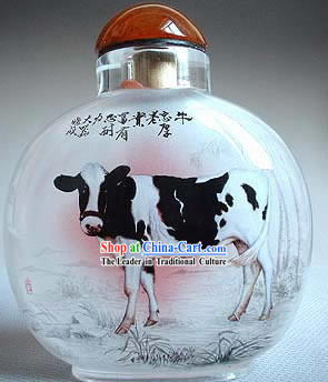 Snuff Bottles With Inside Painting Chinese Zodiac Series-Ox
