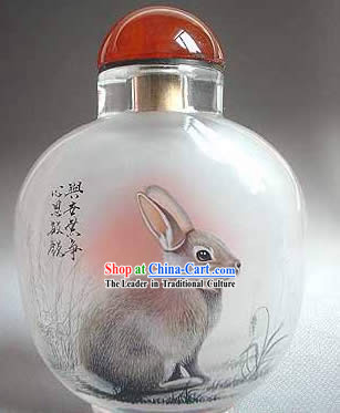 Snuff Bottles With Inside Painting Chinese Zodiac Series-Rabbit1