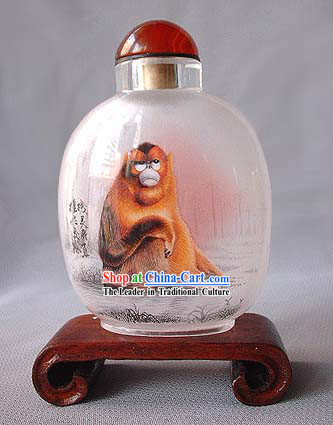 Snuff Bottles With Inside Painting Chinese Zodiac Series-Monkey 1