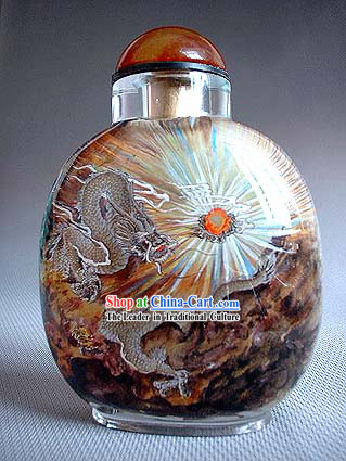 Snuff Bottles With Inside Painting Chinese Animal Series-Dragon Dance
