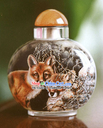 Snuff Bottles With Inside Painting Chinese Animal Series-Fox Love