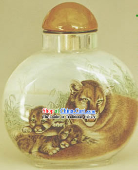 Snuff Bottles With Inside Painting Chinese Animal Series-Leopard Family