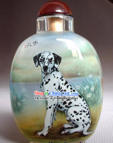 Snuff Bottles With Inside Painting Chinese Animal Series-Dalmatian