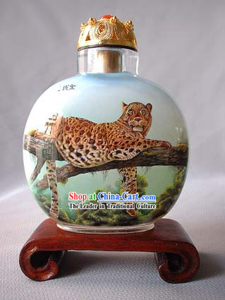Snuff Bottles With Inside Painting Chinese Animal Series-Catamount on the Tree