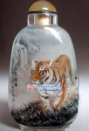 Snuff Bottles With Inside Painting Chinese Animal Series-Walking Tiger
