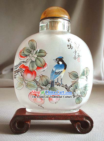 Snuff Bottles With Inside Painting Birds Series-Blue Bird