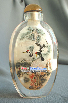 Snuff Bottles With Inside Painting Birds Series-Crane Couple