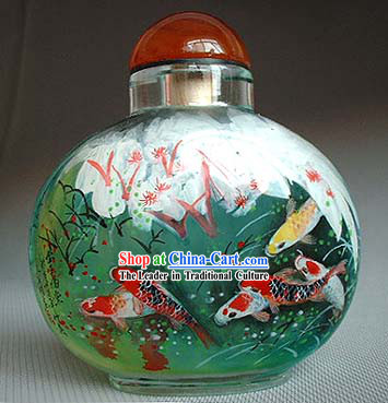 Snuff Bottles With Inside Painting Fishes Series-Lucky Fishes