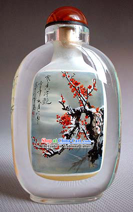 Snuff Bottles With Inside Painting Flower Series-Snow Plum Blossom