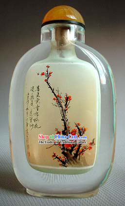 Snuff Bottles With Inside Painting Flower Series-Snow Plum Blossom 1