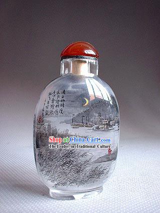 Snuff Bottles With Inside Painting Landscape Series-River Night