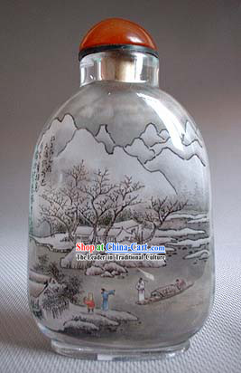 Snuff Bottles With Inside Painting Landscape Series-Snow Travel