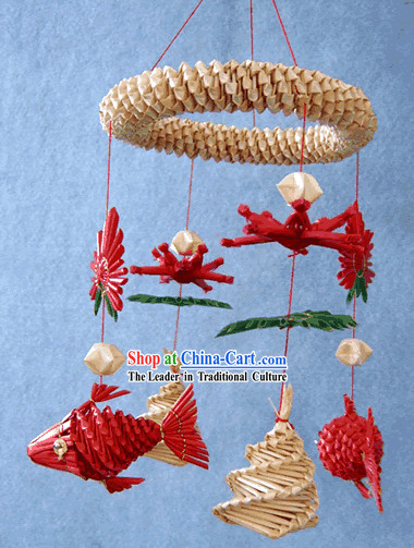 China Hand Made Wheat Stalk Windbell-Free Fishes