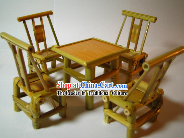 Chinese Classic Mini Furniture-Bamboo Desk and Chairs Set