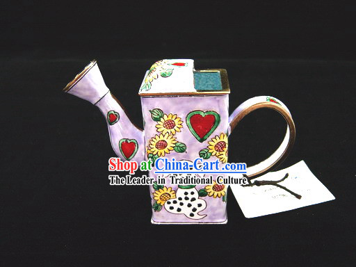 Chinese Hand Painted Enamel Watering Pot-Dalmatian and Sunflower