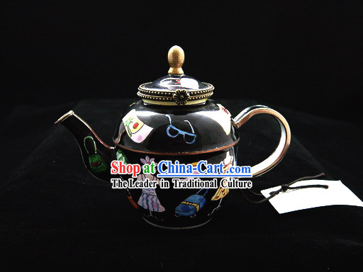 Chinese Hand Painted Enamel Kettle-Black World
