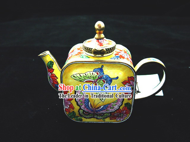 Chinese Classic Hand Painted Enamel Kettle-Butterfly and Peony
