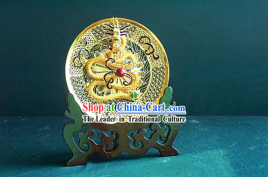 Chinese Gold Brass Cloisonne Dragon Plate