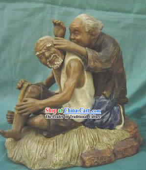 Chinese Porcelain Figurine from Shi Wan-Conjugal Love Old Couple
