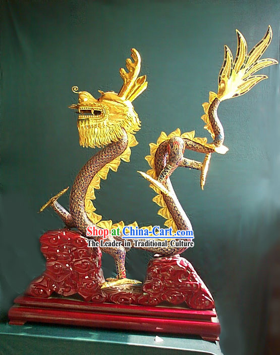 Chinese Gold Brass Cloisonne Dragon