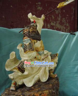 Chinese Porcelain Figurine from Shi Wan-Brave Guan Gong