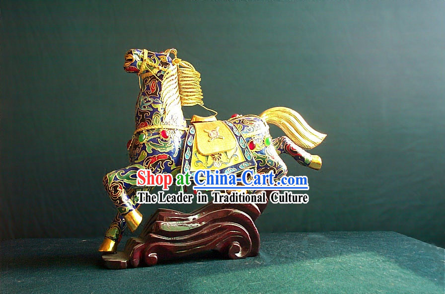 Chinese Gold Brass Cloisonne Galloping Horse _OUT OF STOCK_