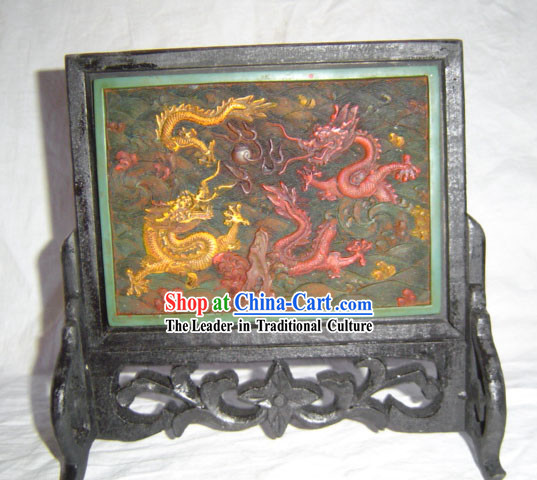 Chinese Classic Lacquerwork-Dragons Folding Screen