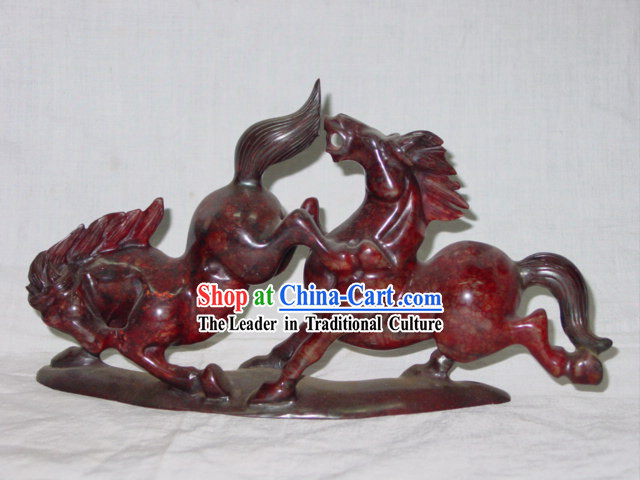 Chinese Rare Chicken Blood Jade Horse Couple Sculpture