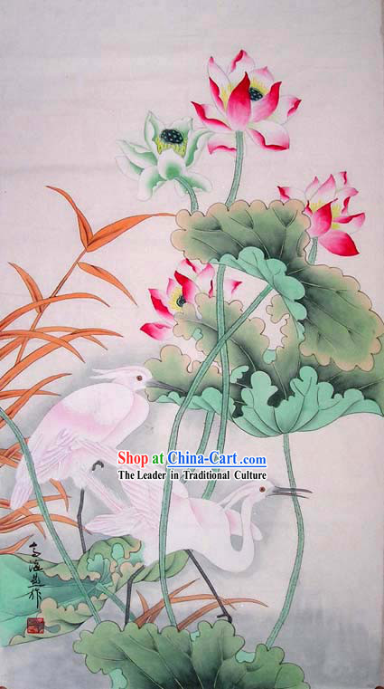 Chinese Traditional Painting-Lotus and Bittern