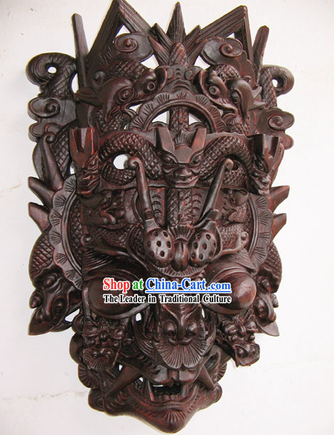 Ancient Folk Handmade Woodcarving-Twelve Dragons Land Drama Mask